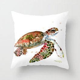 Sea Turtle, Brown, Olive green Pink Shades Throw Pillow