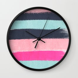 Miri - abstract stripes painterly brushstrokes minimal office dorm or college girly art decor Wall Clock