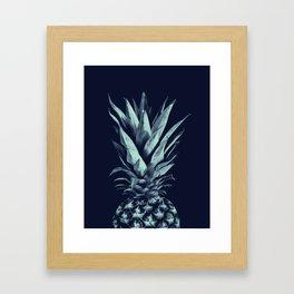 Navy Blue Pineapple Dream #1 #tropical #fruit #decor #art #society6 Framed Art Print