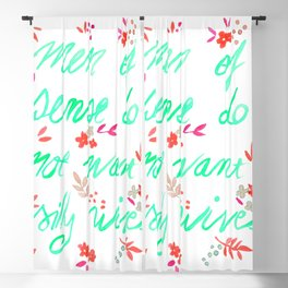 Men of sense do not want silly wives - Mint Green & Red Palette Blackout Curtain