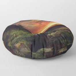 Sunset at the Grand Canyon landscape painting by Thomas Moran Floor Pillow