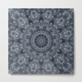 Gray - blue marble kaleidoscope, ornament elements print Metal Print
