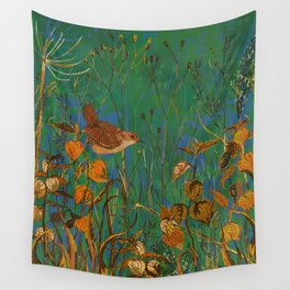 Winter Glimpses - Wren and Physalis Wall Tapestry