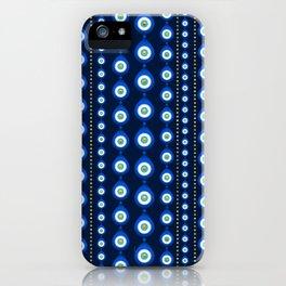 Evil Eye pattern - dark blue with golden accents iPhone Case