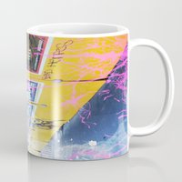 alisa burke Mugs featuring purple and yellow _  little burke graffiti by Vin Zzep