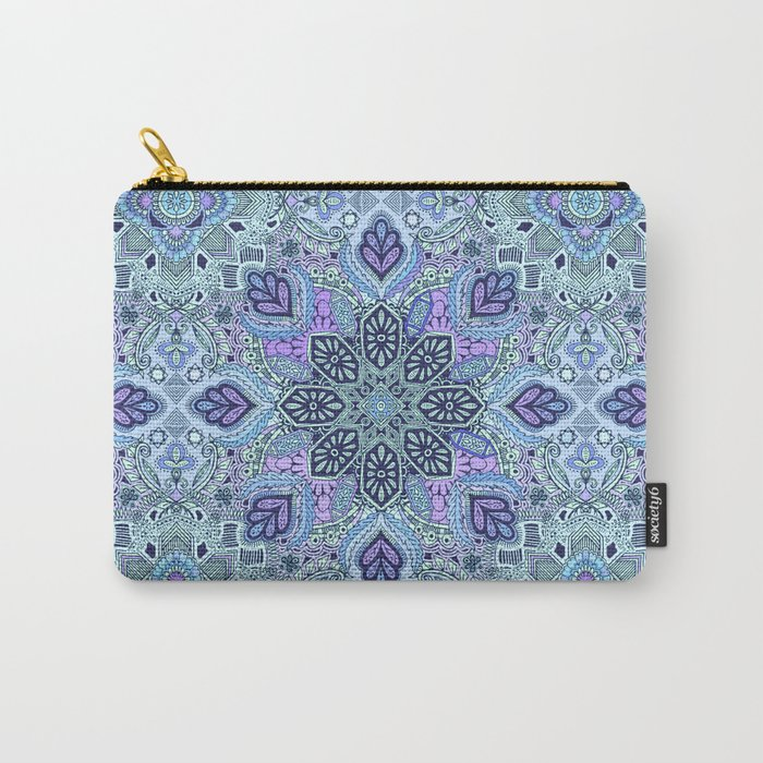 Navy Blue, Mint and Purple Boho Pattern  Carry-All Pouch