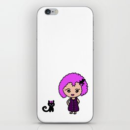 Chibi Girl and Cat in Pink and Purple iPhone Skin