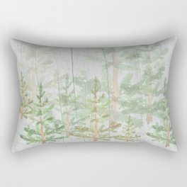 Pine forest on weathered wood Rectangular Pillow
