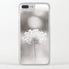 "Black and White Nature Photography, Queen Anne's Lace Grey Photo, Floral Print, ""Dreamy"" Clear iPhone Case"