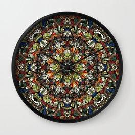 Boho Geometric Mandela Pattern 1 Wall Clock