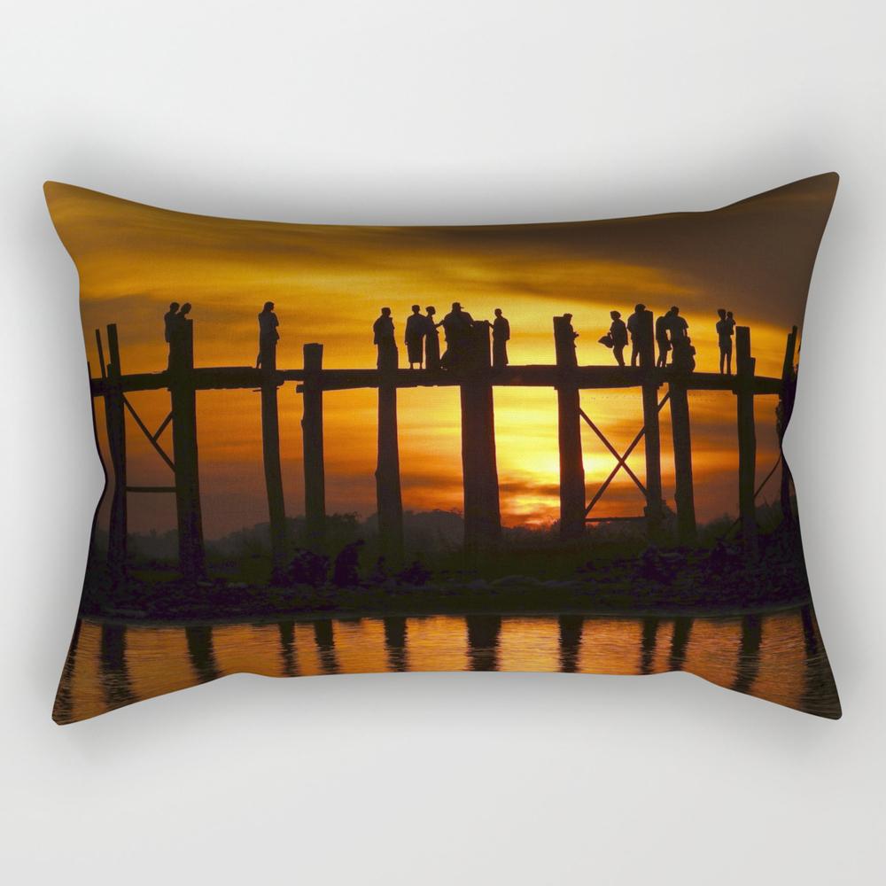 Sunset At U Bein Bridge, Myanmar Rectangular Pillow RPW8479240