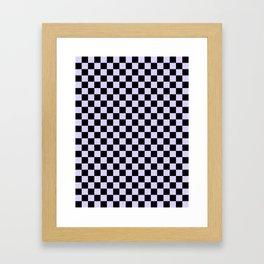 Black and Pale Lavender Violet Checkerboard Framed Art Print
