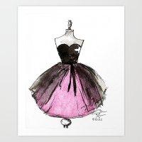 Pink and Black Sheer Dress Fashion Illustration Art Print