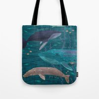 whales Tote Bags featuring Whales by Stephanie Fizer Coleman