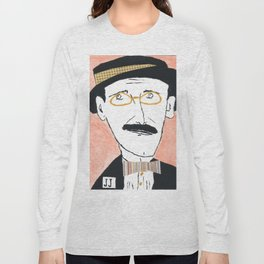 James Joyce with a Hat and Glasses Long Sleeve T-shirt