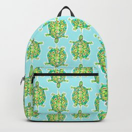Tortoise Pattern with aqua background Backpack