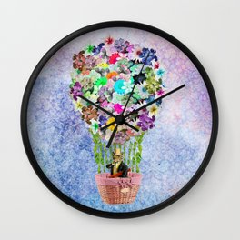 Teal Pink Vintage whimsical cat floral Air balloon Wall Clock