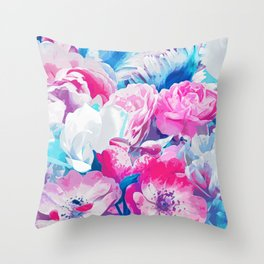 FLORAL GARDEN Peony & Magnolia Throw Pillow