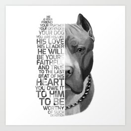 Pit Bull Print, Pit Bull Quote, Pit Bull Gift, Text Dog Portrait, Dog Art, Dog Quotes Print, Text Do Art Print