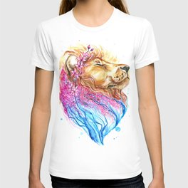 Sakura Lion Double Exposure Watercolour T-shirt