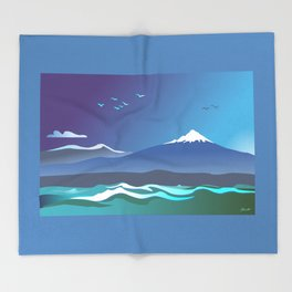 Mont Taranaki From The Sea Throw Blanket