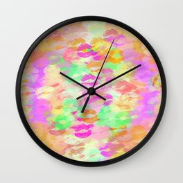 juicy kiss lipstick abstract pattern in pink orange green purple Wall Clock