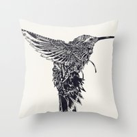 plain Throw Pillows featuring HummingBird Plain by efan