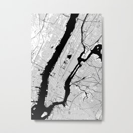 New York City Black and White Map Metal Print