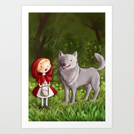 Red riding hood meets the wolf Art Print