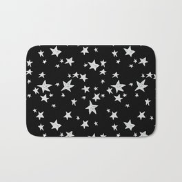Linocut black and white stars outer space astronauts minimal Bath Mat