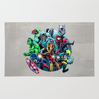super heroes Area & Throw Rugs featuring Super Heroes by Carrillo Art Studio