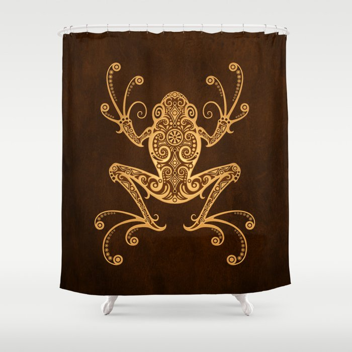 Intricate Golden Brown Tree Frog Shower Curtain