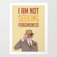 boardwalk empire Art Prints featuring Boardwalk Empire 'Forgiveness' by JDGC