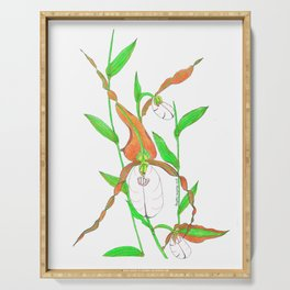 Mountain Lady Slipper Orchid Botanical Art Print Serving Tray