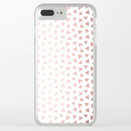 Rose Gold Triangle Checkers Clear iPhone Case