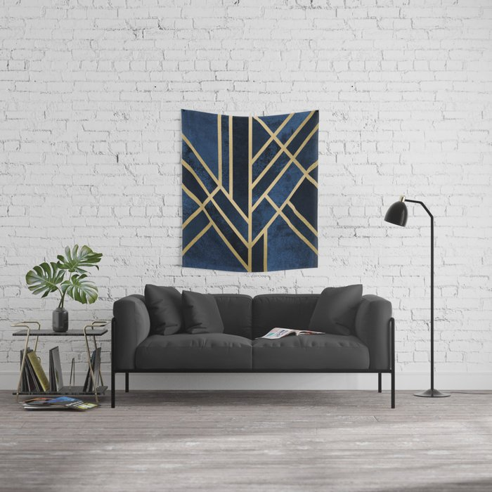 Art Deco Midnight Wall Tapestry