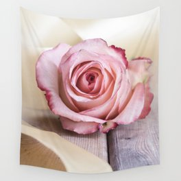 Pink rose and golden ribbon Wall Tapestry