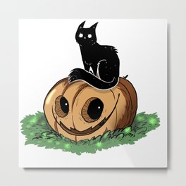 Pumpkin Cat Halloween, Black Cat Pumpkin Shirt, Halloween Shirt, Black Cat, Scarry Cat, costume idea Metal Print