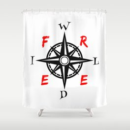 Wild And Free Compass Shower Curtain