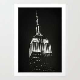 Dramatic Empire State Building in New York City at night Art Print