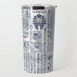 Egyptian hieroglyphs and deities abalone on pearl Travel Mug