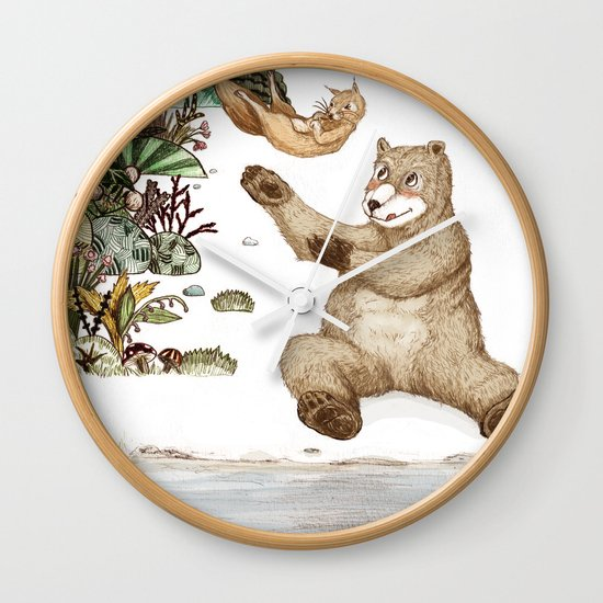 Mr.Brown is playing with the squirrel Wall Clock