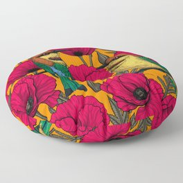 Bee eaters and poppies on orange Floor Pillow