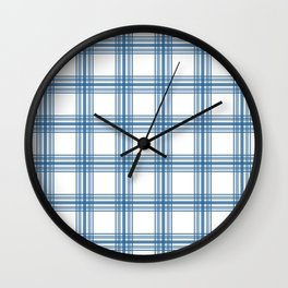 Farmhouse Plaid in Blue on White Wall Clock