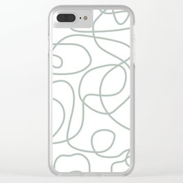 Doodle Line Art | Light Gray Green Lines on White Background Clear iPhone Case