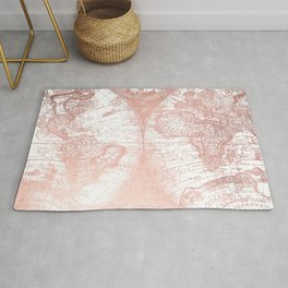 Rose Gold Pink Antique World Map by Nature Magick Rug