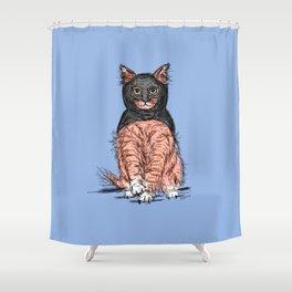 Periwinkle Pink Bat Cat Shower Curtain