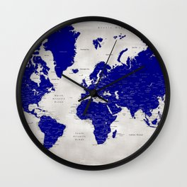 "Navy blue and grey detailed world map, ""Delaney"" Wall Clock"