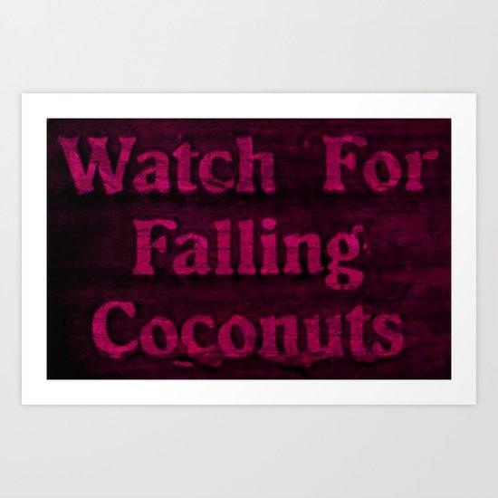 Falling coconuts Art Print
