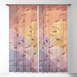 Music notes III Sheer Curtain